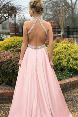 Chic Pink Halter Crystal Open Back Prom Dresses Sleeveless Ruffles Sexy Evening Dresses with Belt_2