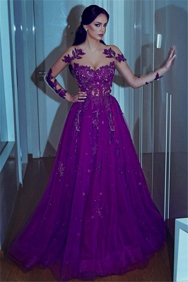 Gorgeous Sweetheart Applique Lace Prom Dresses Long Sleeves Sexy Evening Dresses with Beads_1