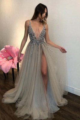 Gorgeous Crystal V-Neck Prom Dresses Side slit Sheer Sleeveless Sexy Evening Dresses_1