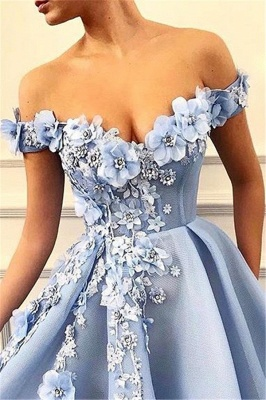 Off The Shoulder Applique Sweetheart A Line Prom Dresses | Sleeveless Beaded Cheap Evening Dresses_2