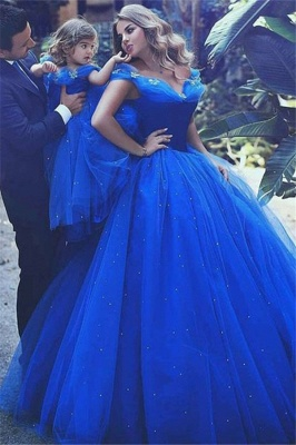 Gorgeous Off-the-Shoulder Flower Prom Dresses Sleeveless Tulle Ball Gown Sexy Evening Dresses wit Beads_1