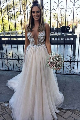 Chic Flower Applique V-Neck Prom Dresses Sheer Sleeveless Sexy Evening Dresses with Crystal