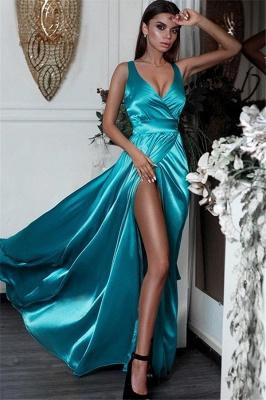 Chic Side Slit V-Neck Prom Dresses Sleeveless Cheap Sexy Evening Dresses_1