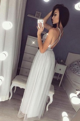Glamorous Sequins Halter Applique Prom Dresses Side slit Sheer Sleeveless Sexy Evening Dresses_3