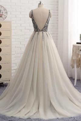 Glamorous V-Neck Crystal Applique Prom Dresses Side slit Backless Sleeveless Sexy Evening Dresses_2