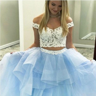 Gorgeous Applique Off-the-Shoulder Prom Dresses Two Piece Sheer Sleeveless Sexy Evening Dresses_4