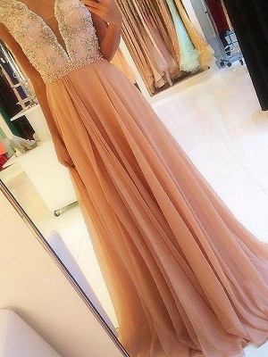 Chic Open Back Applique Prom Dresses Tulle Cheap Sexy Evening Dresses with Crystal_3