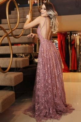 Chic Pink Applique V-Neck Prom Dresses Backless Sleeveless Sexy Evening Dresses_2