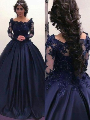 Lace Applique Bateau Long Sleeves Prom Dresses Ball Gown Sexy Evening Dresses with Beads_2