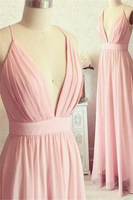 Romactic Pink Spaghetti Strap Ruffles Prom Dresses Sleeveless Sexy Evening Dresses with Belt_1