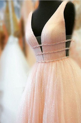 Gorgeous Sequins Straps Tulle Prom Dresses | Ball Gown Sleeveless Sexy Evening Dresses with Beads_5