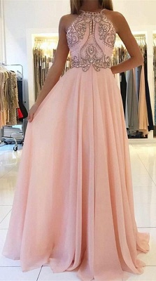 Romactic Pink Halter Applique Prom Dresses Sleeveless Open Back Sexy Evening Dresses With Crystal_1