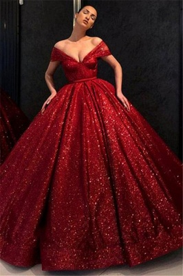Sequins Off-the-Shoulder Applique Prom Dresses Ball Gown Sleeveless Sexy Evening Dresses_1