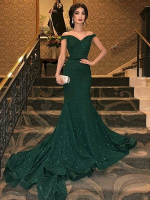 Chic One-shoulder Applique Prom Dresses Long Sleeves Side Slit Sexy Evening Dresses with Belt_2