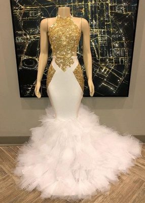 Gergous High Neck Applique Mermaid Prom Dresses | Applique Evening Dresses With Feather