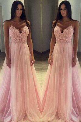 Pink Spaghetti Strap Applique Prom Dresses Sleeveless Tulle Cheap Sexy Evening Dresses_1