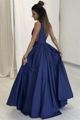V-neck Sleeveless Prom Dresses Ruffles Cheap Sexy Evening Dresses with Pocket_2