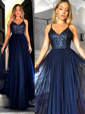Crystal Spaghetti Strap Open Back Prom Dresses Tulle Sexy Evening Dresses with Beads_2