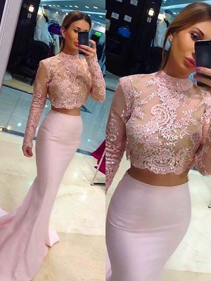 Chic High Neck Applique Long Sleeves Prom Dresses Mermaid Pink Lace Two Piece Sexy Evening Dresses_2