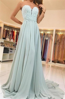 Chic Applique Sweetheart Prom Dresses Ribbons Sleeveless Sexy Evening Dresses_1