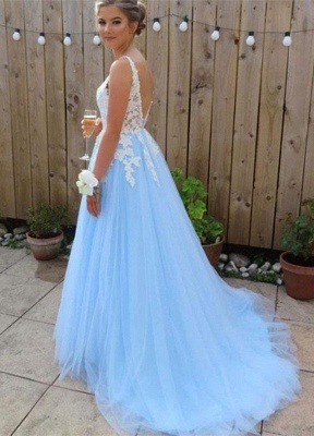 Chic V-Neck Applique Open Back Prom Dresses Tulle Cheap Sleeveless Sexy Evening Dresses_2
