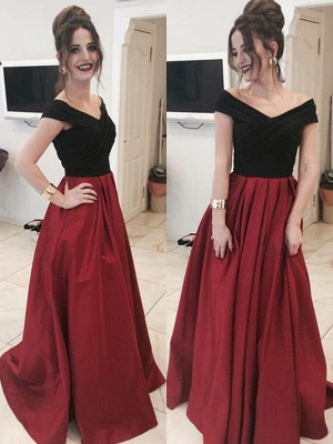 Black Off-the-Shoulder  Prom Dresses Applique Ruffles Mermaid Sexy Evening Dresses_1