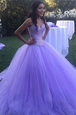 Gorgeous Crystal Sweetheart Applique Prom Dresses Ball Gown Sleeveless Sexy Evening Dresses_1