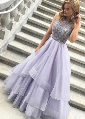 Gorgeous Crystal Sheer Prom Dresses Simple Cheap Sleeveless Sexy Evening Dresses_2