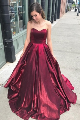 Thick Stain Sweetheart Prom Dresses Ruffle Cheap Sleeveless Sexy Evening Dresses_1