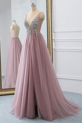 Pink V-Neck Applique Crystal Prom Dresses Sheer Side slit Backless Sleeveless Sexy Evening Dresses_4