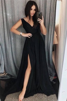 Black V-Neck Prom Dresses Side slit Sleeveless Sexy Evening Dresses_1