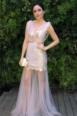 Sheer Sheer Straps Ribbons Crystal Prom Dresses SMermaid Sleeveless Sexy Evening Dresses with Beads_1