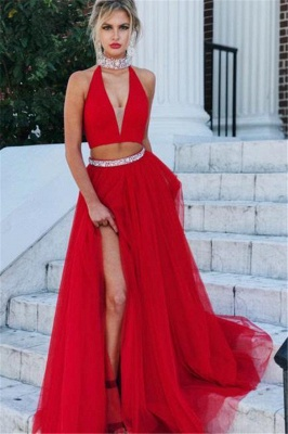 Red Crystal Halter Two Piece Prom Dresses Side slit A-Line Sleeveless Sexy Evening Dresses_1