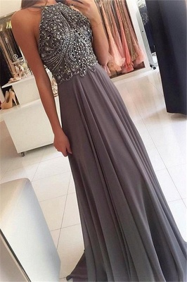 Chic Halter Applique Crystal Prom Dresses Sleeveless Cheap Sexy Evening Dresses with Beads_1