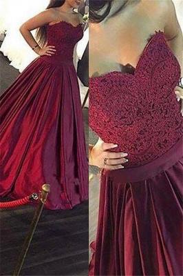 Burgundy Sweetheart Applique Prom Dresses Ruffles Sleeveless Sexy Evening Dresses Cheap_1