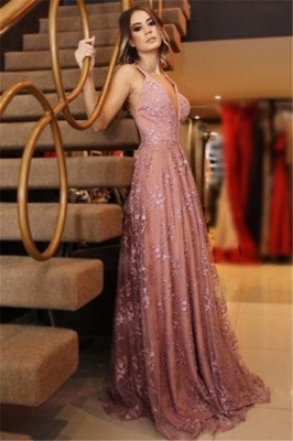 Chic Pink Applique V-Neck Prom Dresses Backless Sleeveless Sexy Evening Dresses