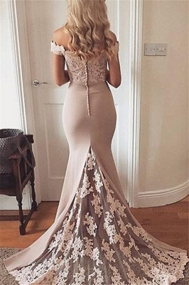 Lace Off-the-Shoulder Prom Dresses Cheap Mermaid Sexy Evening Dresses_2