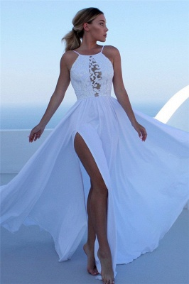 Gorgeous Applique Halter Prom Dresses Side slit Keyhole Sleeveless Sexy Evening Dresses_1