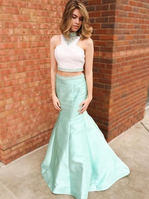 Chic Halter Crystal Mermaid Prom Dresses Two Piece Ruffles Sleeveless Sexy Evening Dresses_3