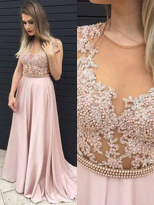 Jewel Beads Applique Prom Dresses Pink Sleeveless Tulle Sexy Evening Dresses Cheap_2