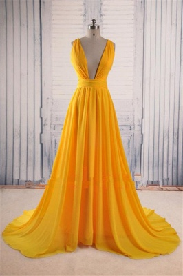 Charming Yellow Straps Prom Dresses Ruffles Cheap Sleeveless Sexy Evening Dresses_1
