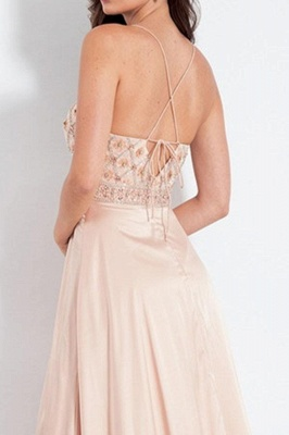 Chic Spaghetti-Strap Crystal Prom Dresses Side slit Sleeveless Sexy Evening Dresses with  Beads_2