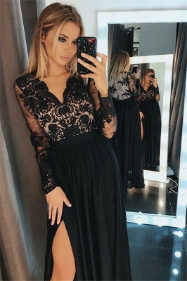 Side-Slit Lace V-Neck Prom DressesBlack Tulle Long Sleeves Sexy Evening Dresses Cheap_1