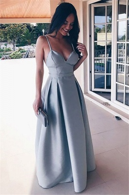 Chic Spaghetti Strap Ruffles Prom Dresses Sleeveless Open Back Sexy Evening Dresses_1