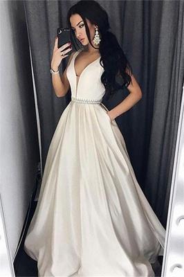 Chic V-Neck Belt Prom Dresses Sleeveless Sexy Evening Dresses with Pocket_1