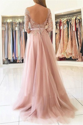 Chic Applique Long Sleeves Prom Dresses Open Back Jewel Side Slit Sexy Evening Dresses with Belt_2