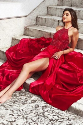 Chic Red Halter Sleeveless Prom Dresses Side Slit Sexy Evening Dresses with Beads_3