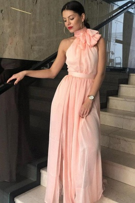Chic Sheer Halter Ribbons Prom Dresses Side slit Overskirt Bowknot Sleeveless Sexy Evening Dresses_2