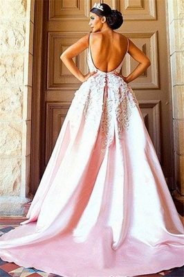 Open Back Appliques Prom Dresses Pink Spaghetti Strap Sexy Evening Dresses_2