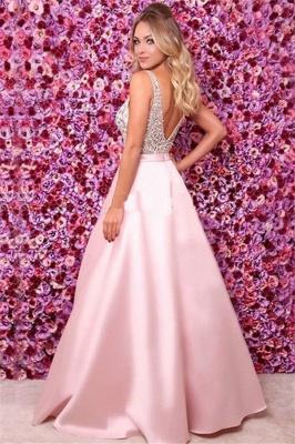 Pink V-Neck Sequins Ruffles Prom Dresses Open Back Sleeveless Sexy Evening Dresses_2